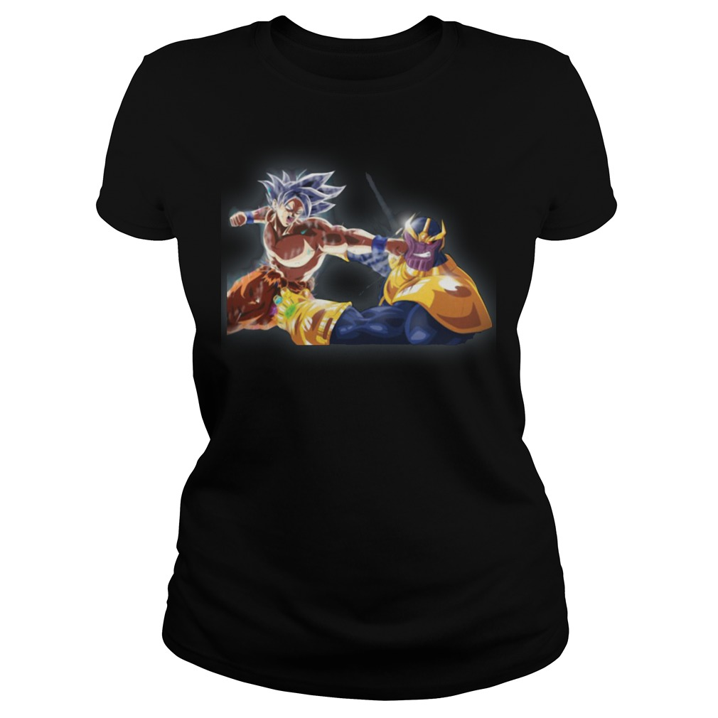 Thanos and Goku fighting mashup ladies shirt