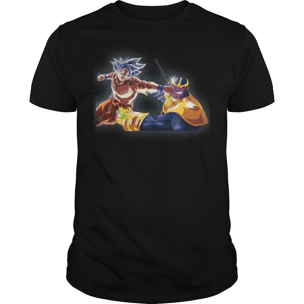 Thanos and Goku fighting mashup shirt