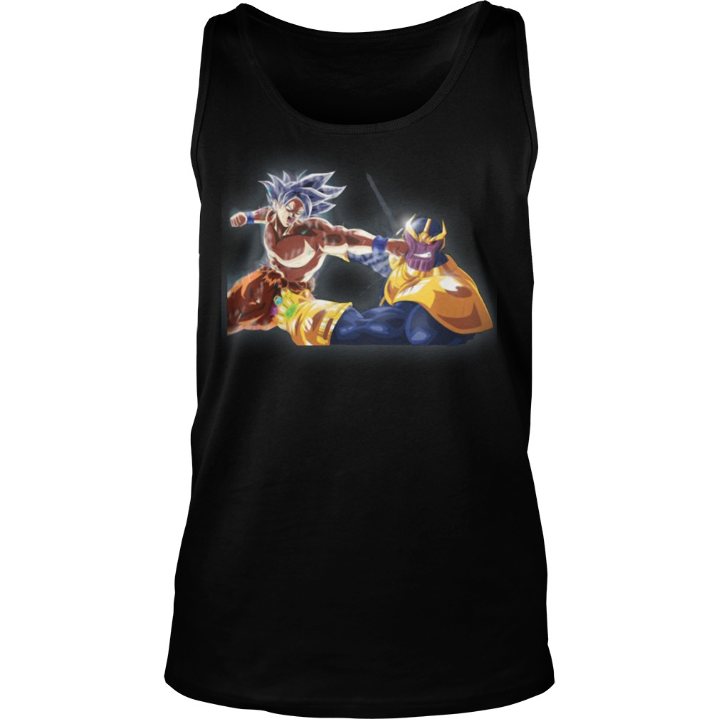 Thanos and Goku fighting mashup tank top