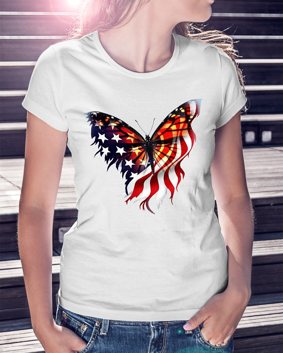 American flag butterfly lover ladies shirt