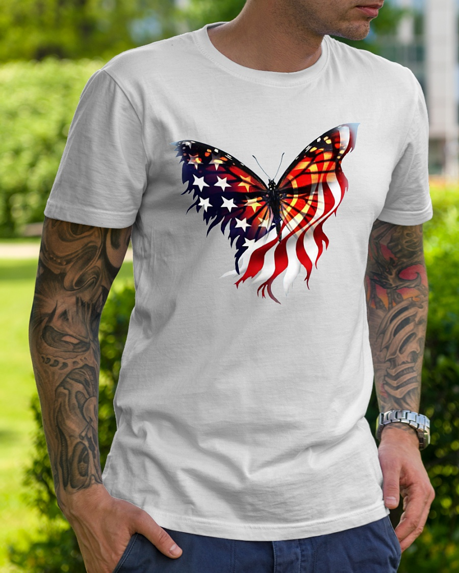 American flag butterfly lover shirt