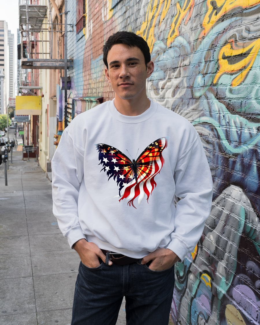 American flag butterfly lover sweater