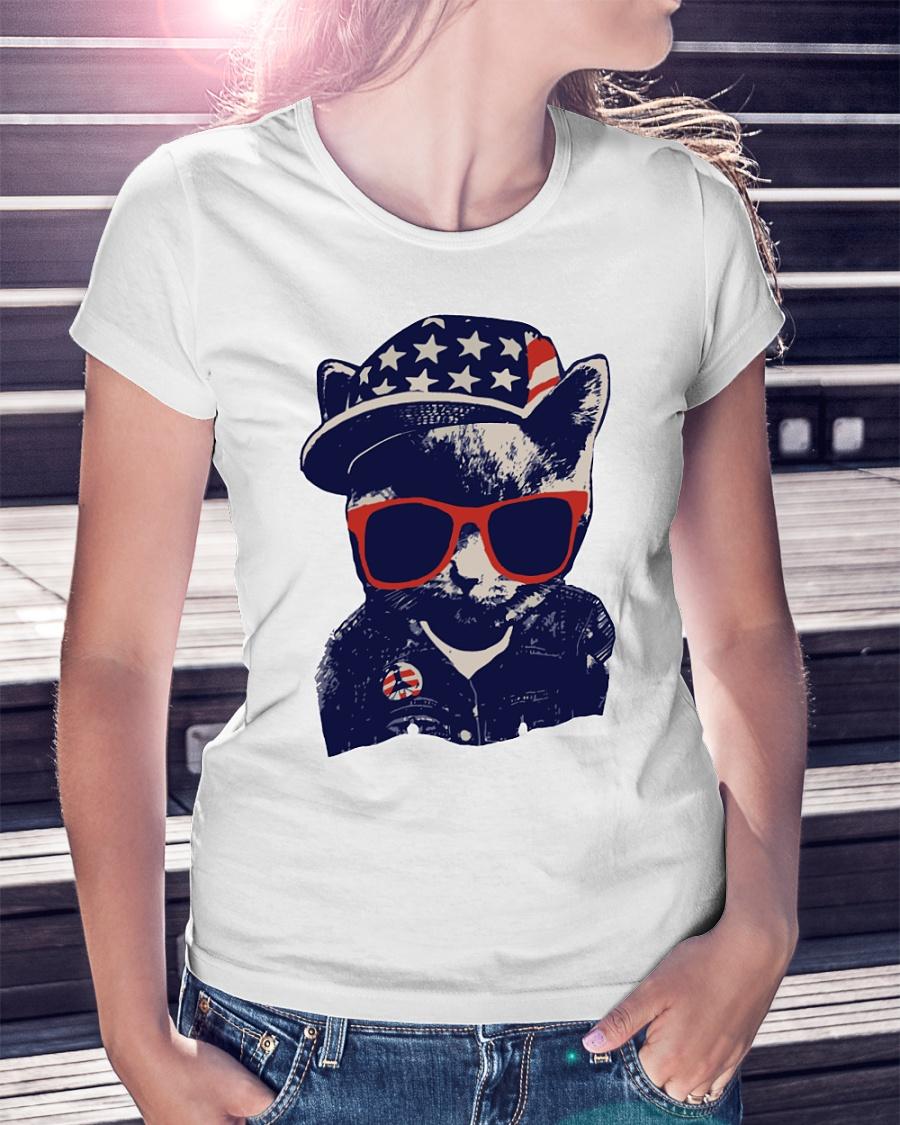 Baby cat fashion american flag ladies shirt