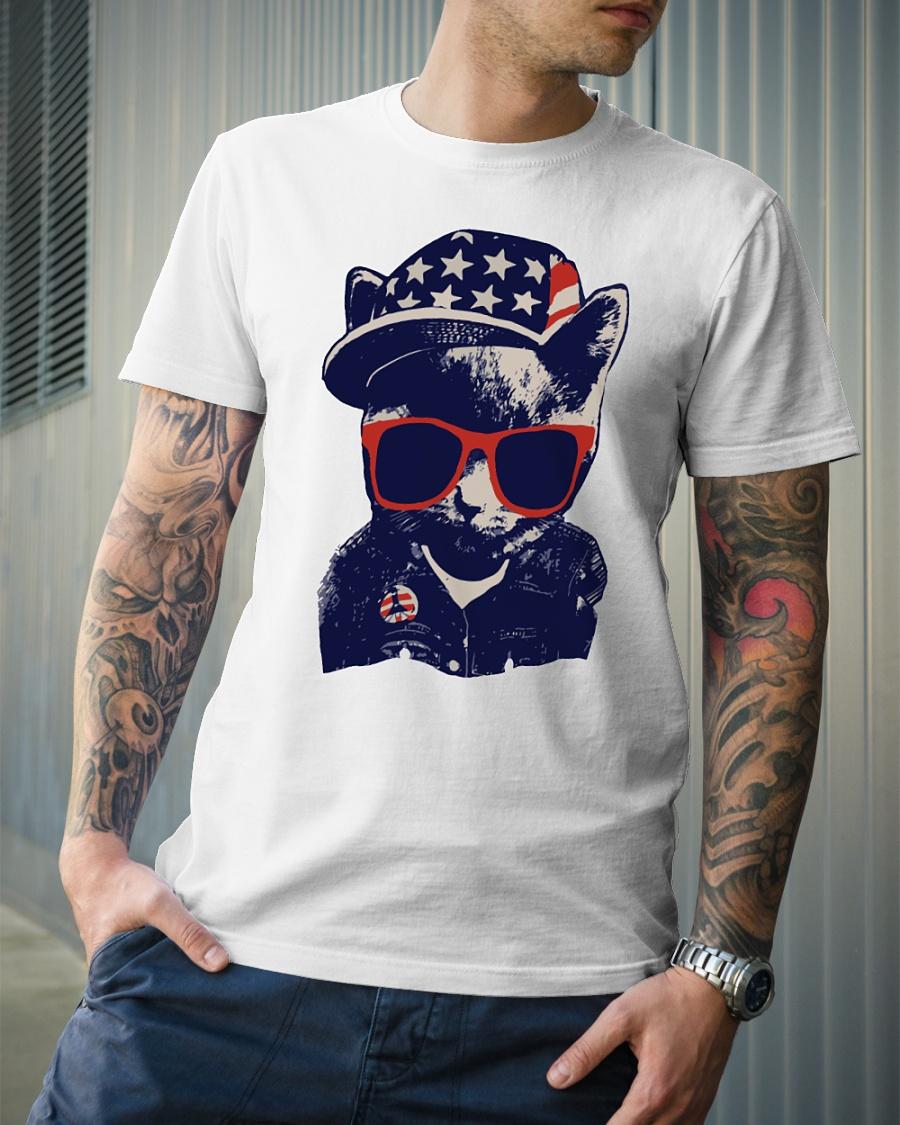 Baby cat fashion american flag shirt
