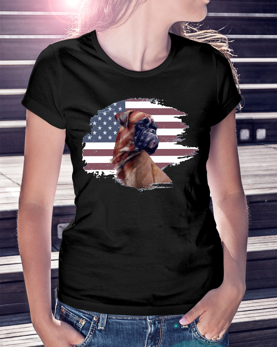 Boxer dog American flag ladies shirt