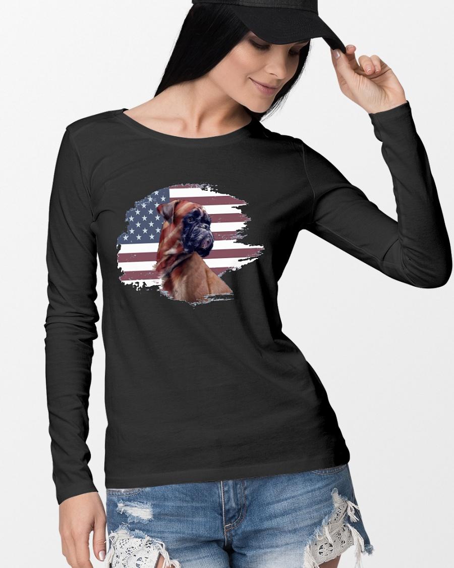 Boxer dog American flag longsleeve