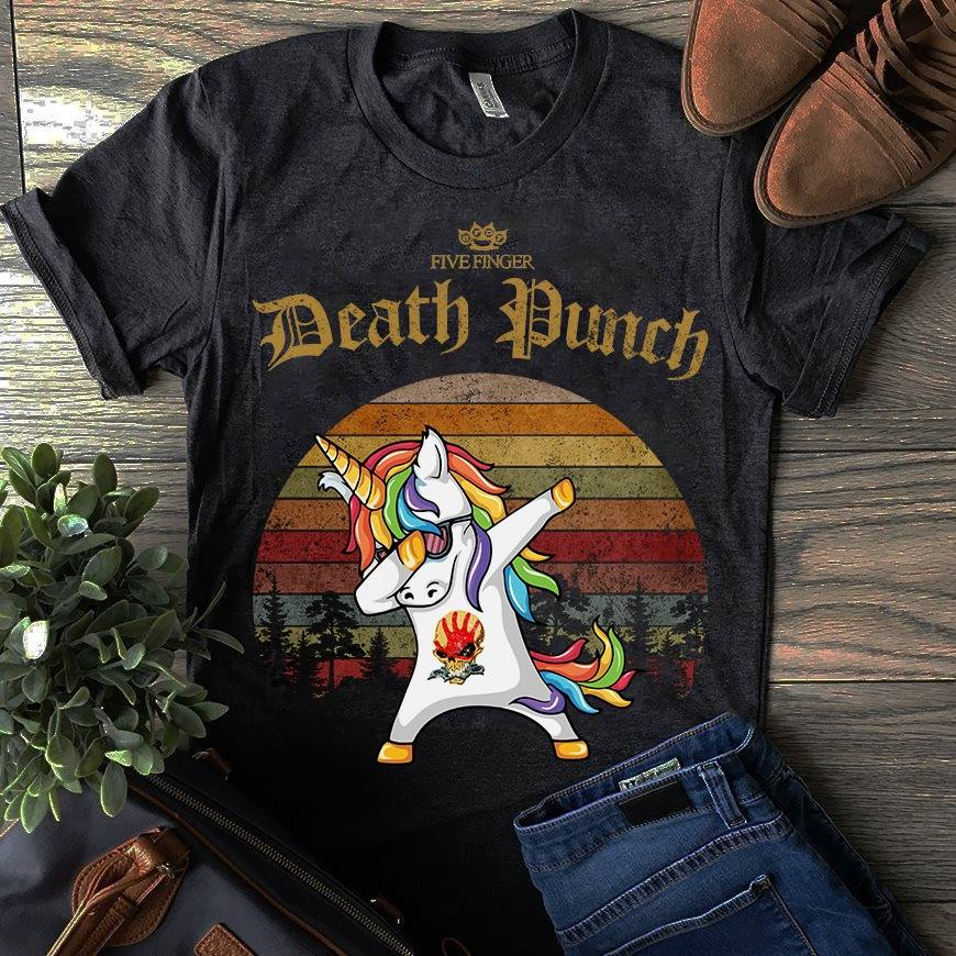 Unicorn dabbing Five Finger Death Punch sunset shirt