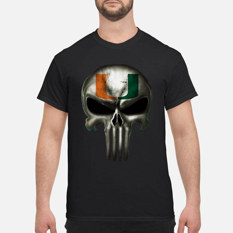 Mami hurricanes football x punisher logo skull Ncaa shirt