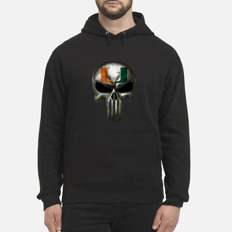 Mami hurricanes football x punisher logo skull Ncaa hoodie