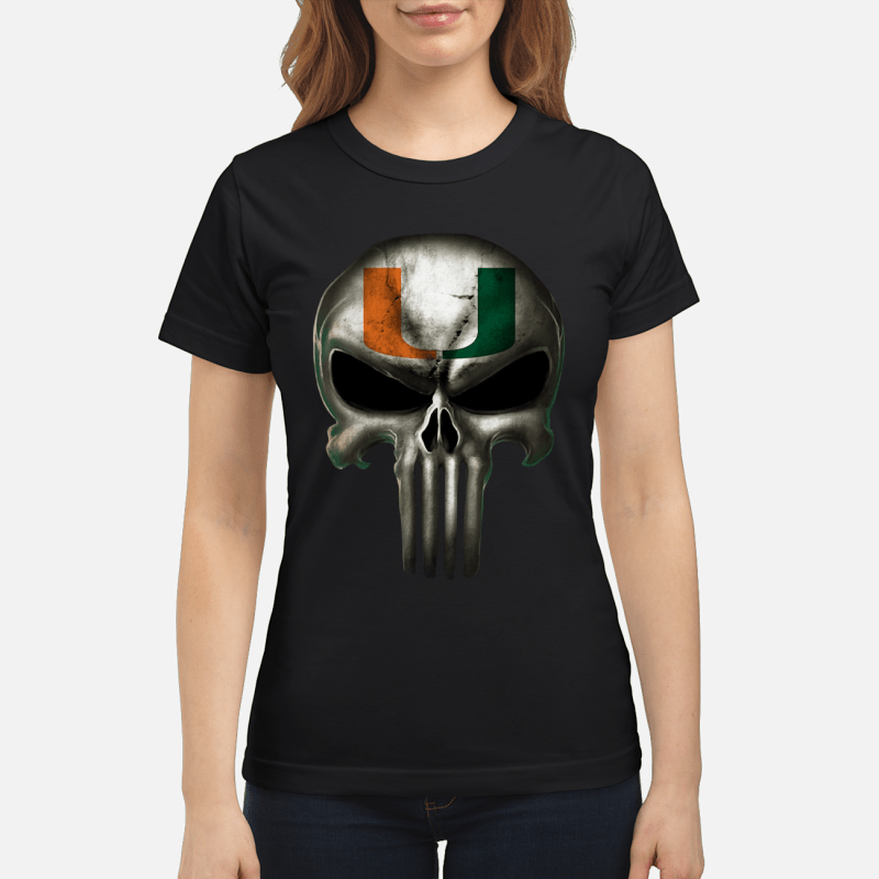Mami hurricanes football x punisher logo skull Ncaa ladies shirt