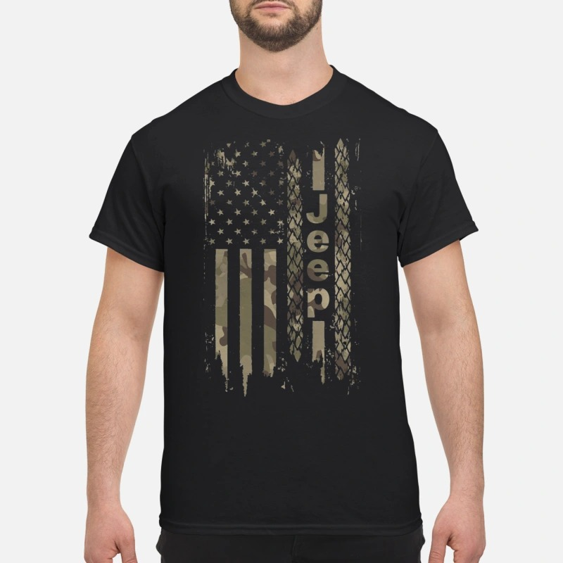 American army camo jeep flag shirt