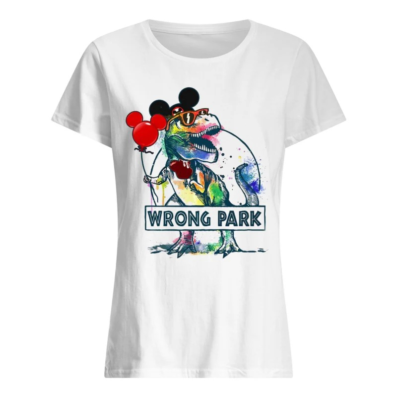 Dinosaur T-rex and Mickey Mouse wrong Park ladies tee