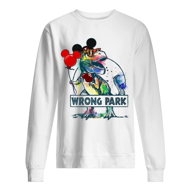 Dinosaur T-rex and Mickey Mouse wrong Park sweater