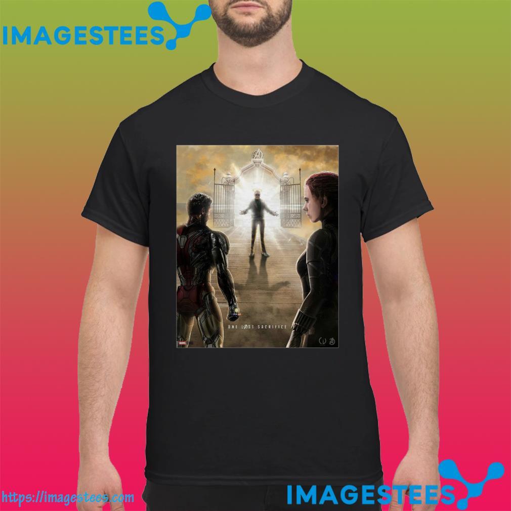 Stan Lee welcoming Tony Stark and Natasha Romanoff into heaven shirt