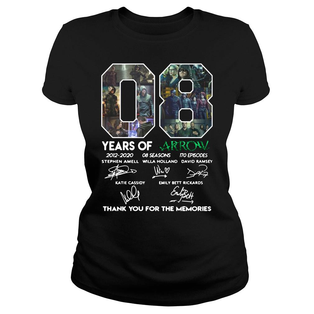 08 Years of Arrow thank you for the memories shirt ladies tee