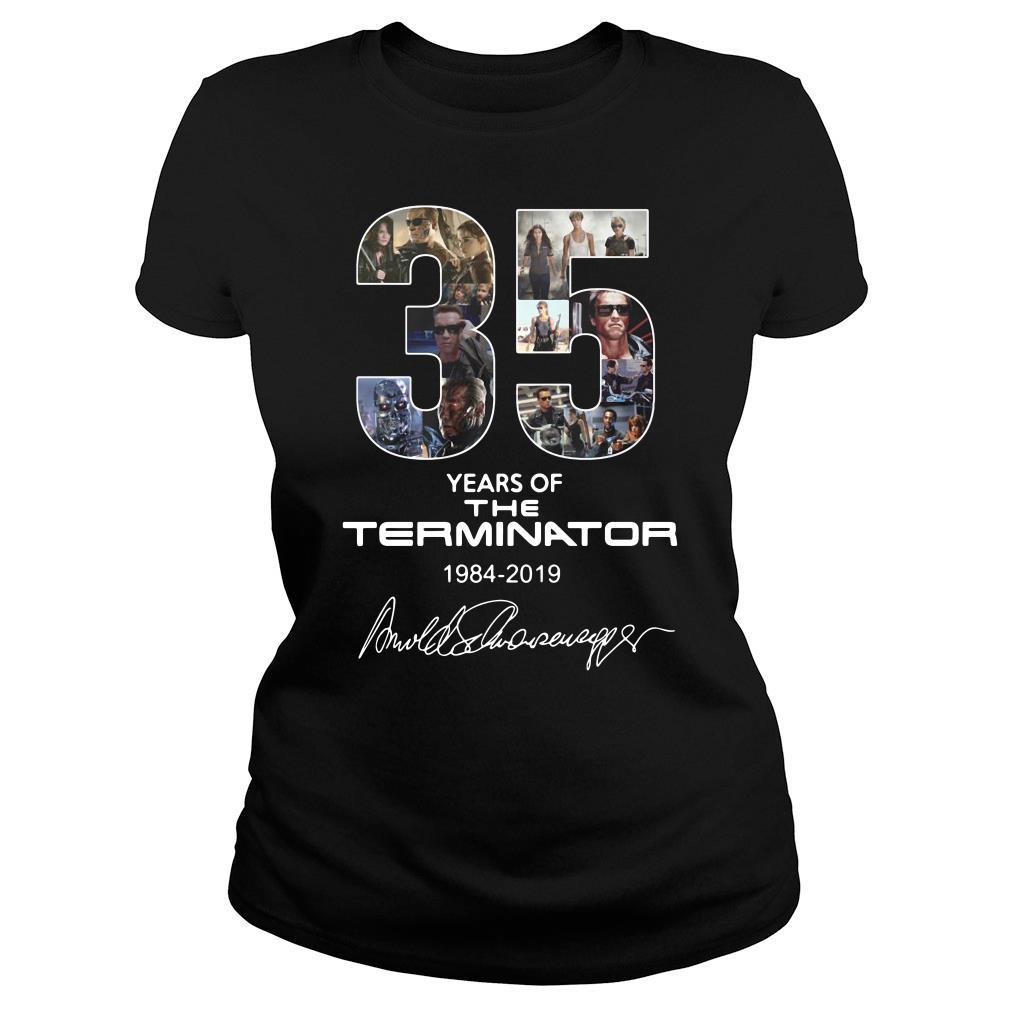 35 Years Of The Terminator 1984 2019 Signature Shirt ladies tee
