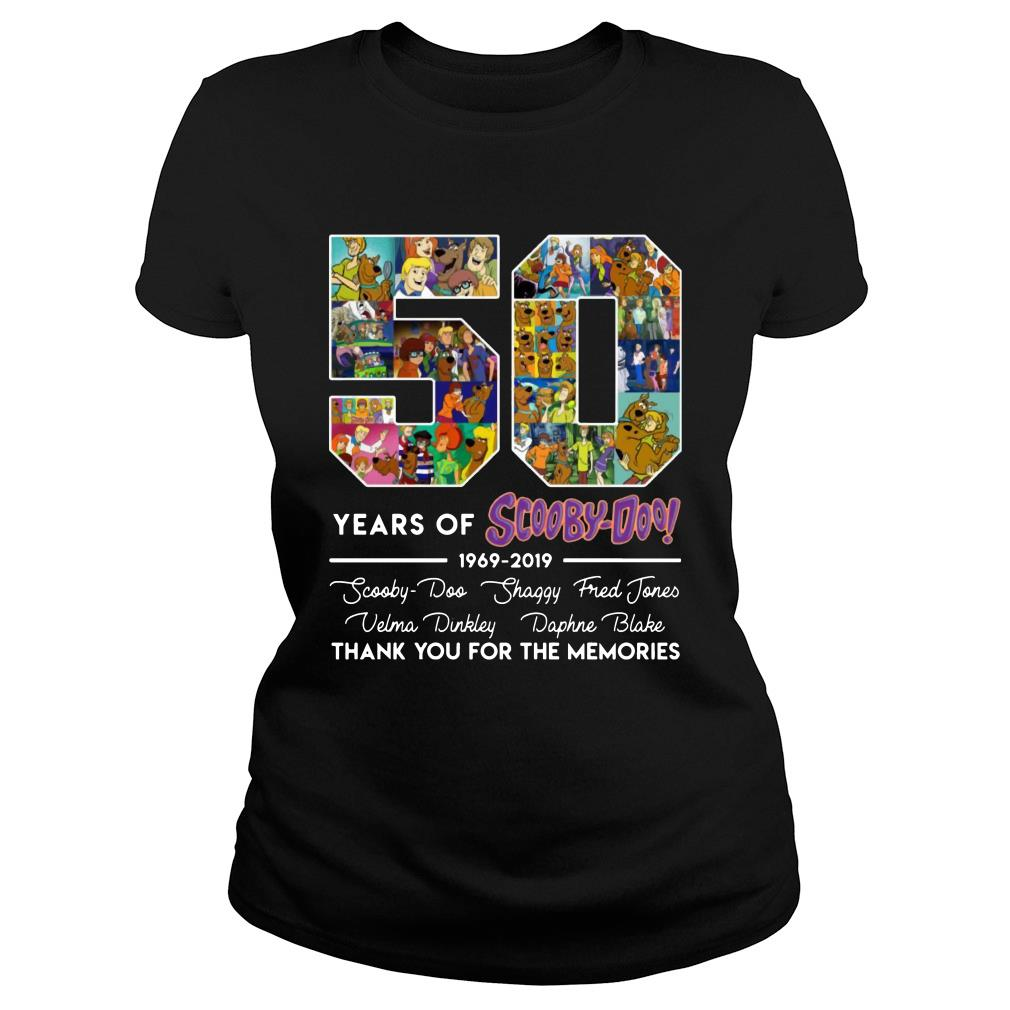50 Years Of Scooby Doo Anniversary 1969-2019 Thank You For The Memories Shirt ladies tee
