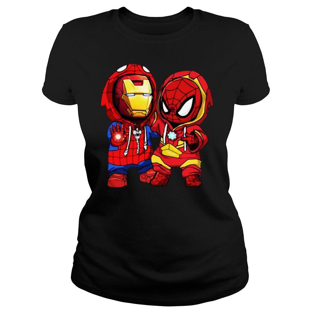 Baby Iron Man And Baby Spiderman shirt ladies tee