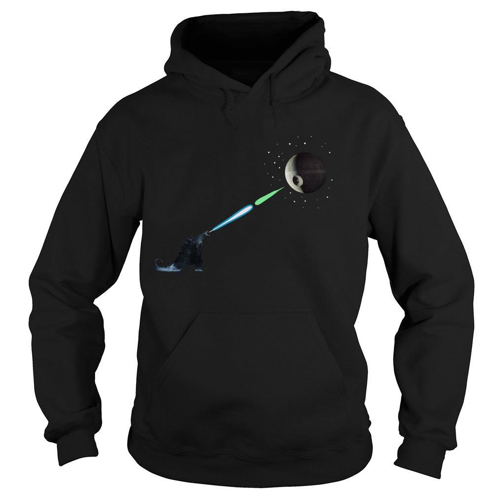 Godzilla And Death Star Fight Shirt hoodie
