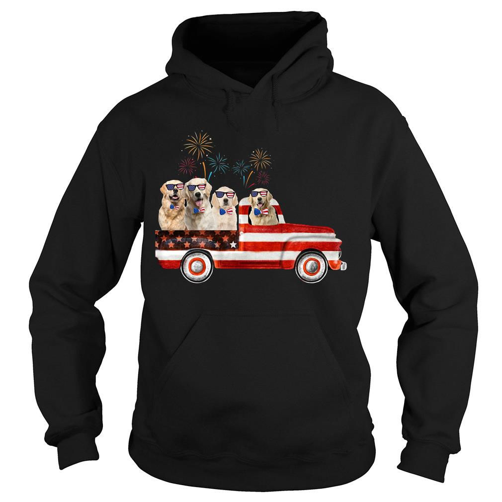 Golden Dogs Retriever American Flag Car Shirt hoodie