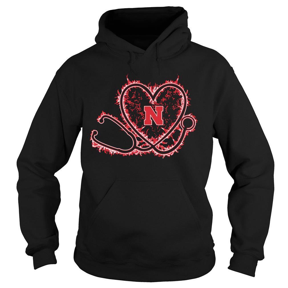 Nurse heart Nebraska Cornhuskers shirt hoodie