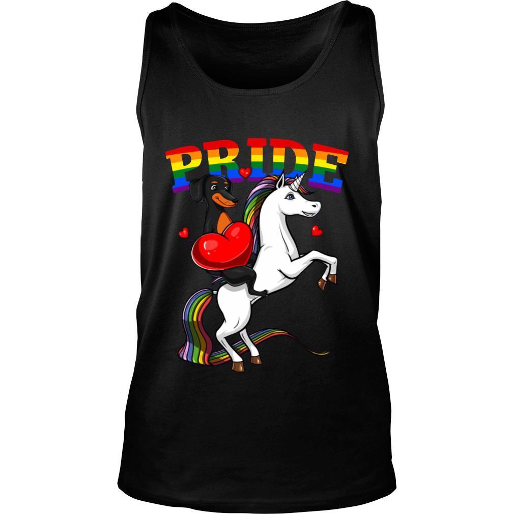 Pride Dachshund Riding Unicorn LGBT Shirt tank top