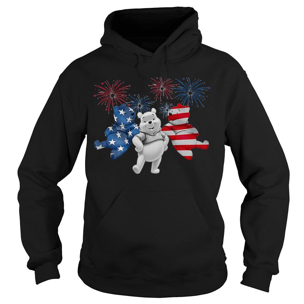 Three Pooh Bear American Flag Shirt hoodie