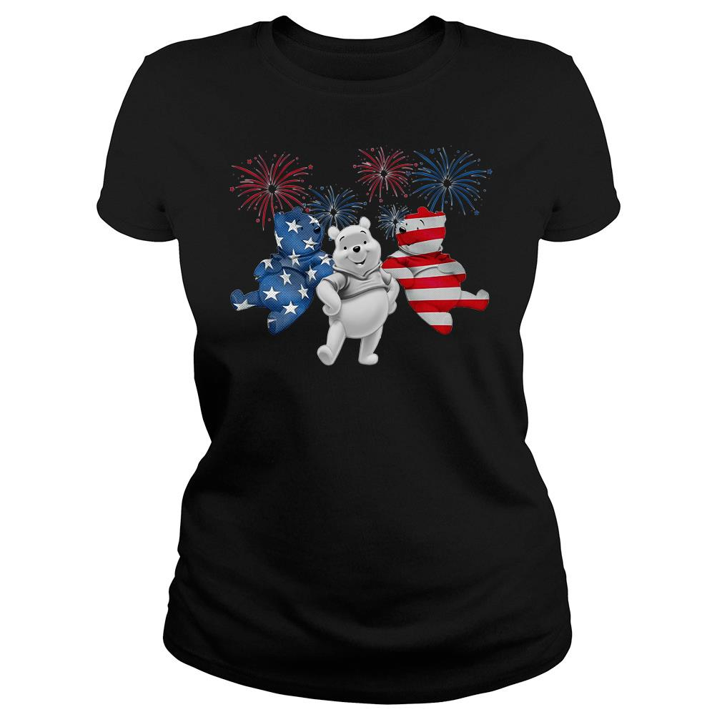 Three Pooh Bear American Flag Shirt ladies tee