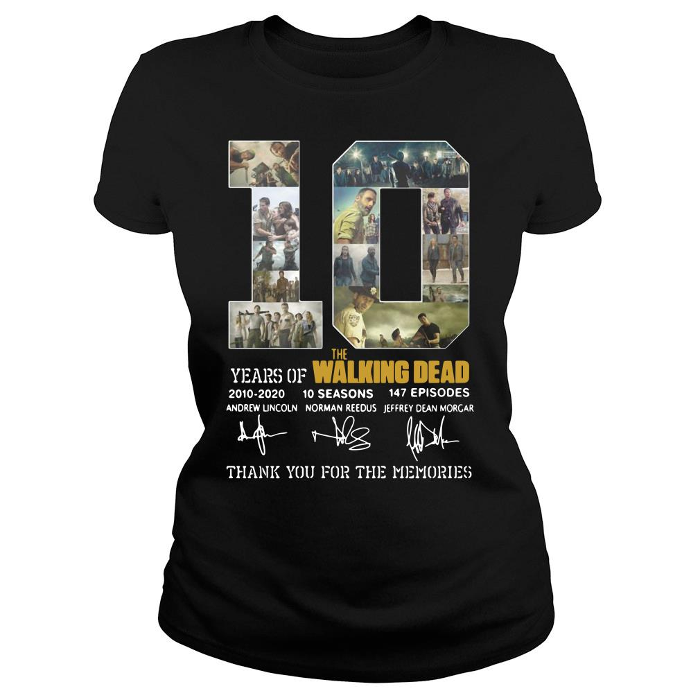10 Years Of The Walking Dead Thank You For The Memories Shirt ladies tee