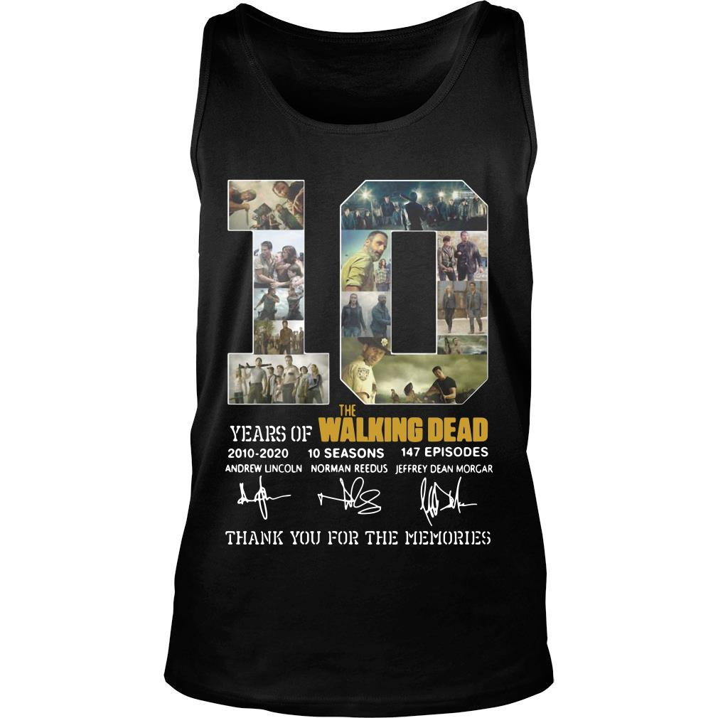 10 Years Of The Walking Dead Thank You For The Memories Shirt tank top