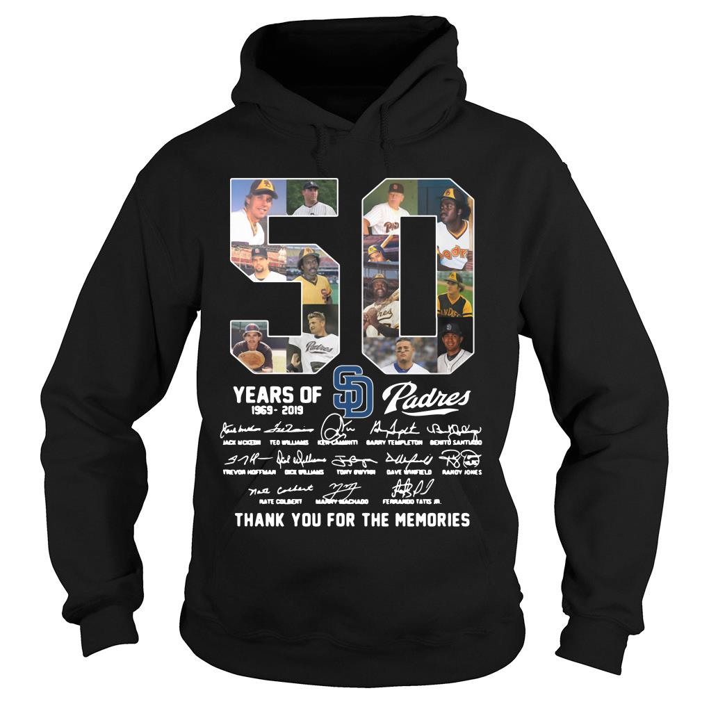 50 Years Of Sd Padres Thank You For The Memories Shirt hoodie