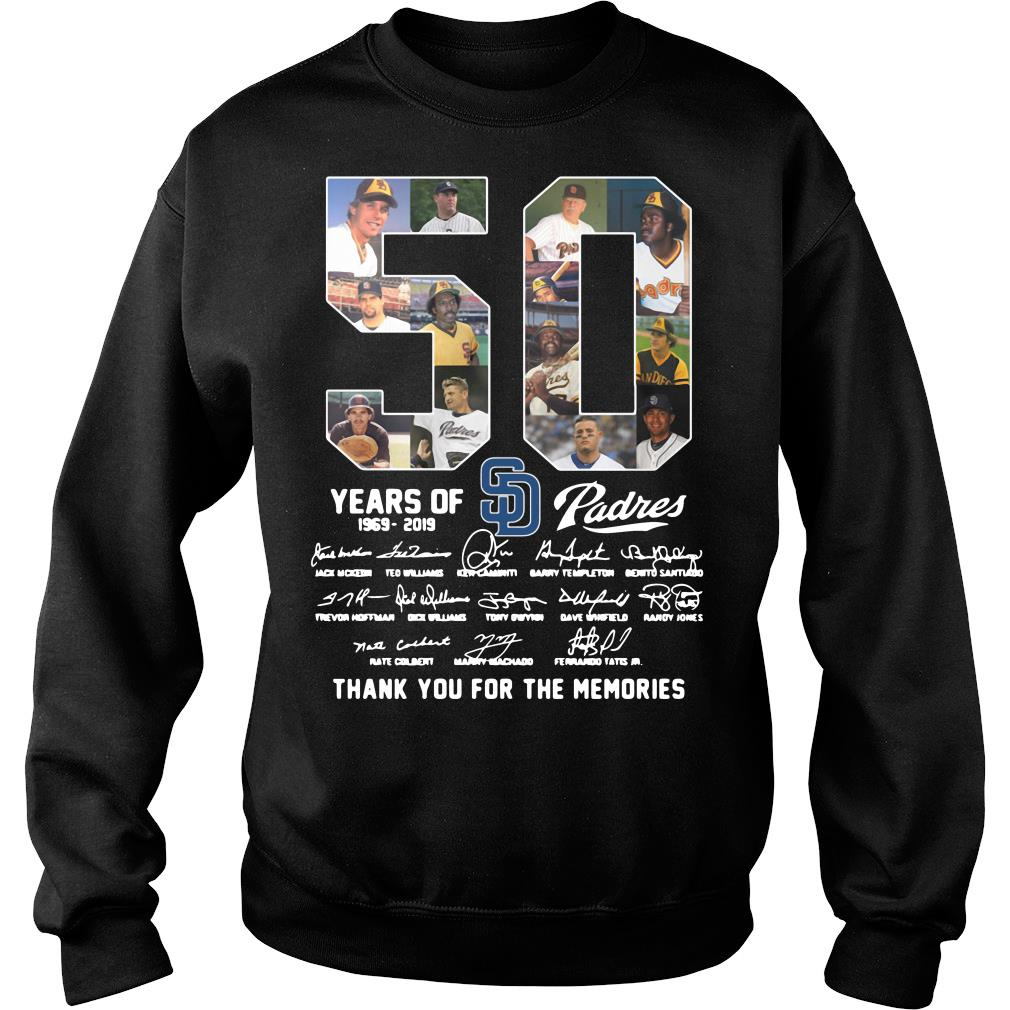 50 Years Of Sd Padres Thank You For The Memories Shirt sweater