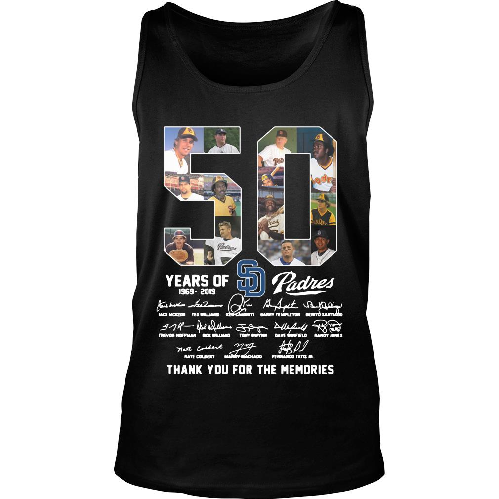 50 Years Of Sd Padres Thank You For The Memories Shirt tank top