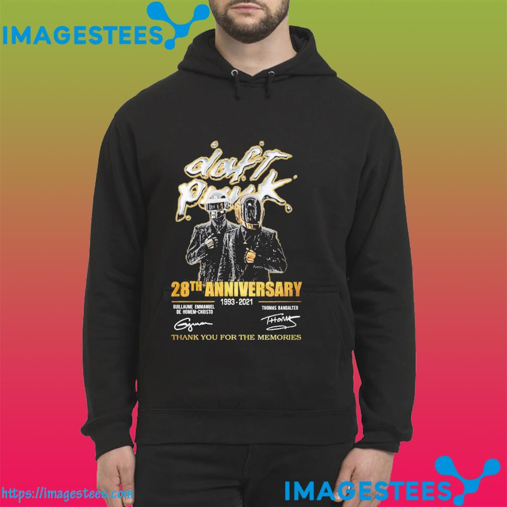 Daft punk 28th anniversary 1993 2021 thank you for the memories signatures hoodie