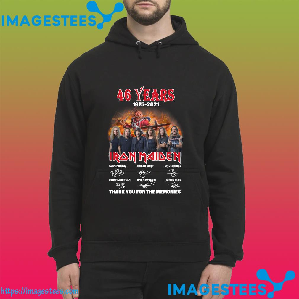 Official The Iron Maiden 46 Years 1975 2021 Signatures Thank You For The Memories Shirt hoodie