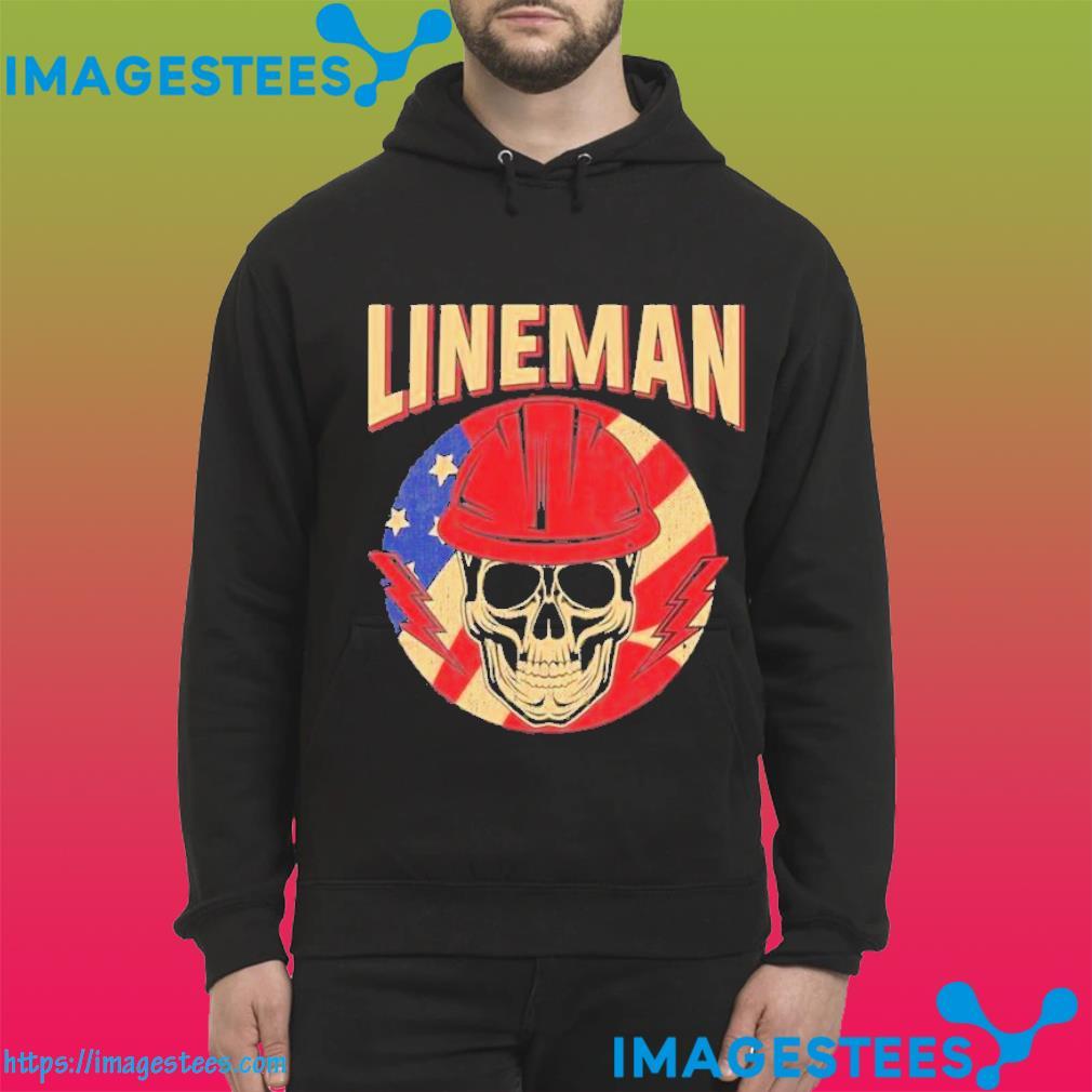 Skull lineman american flag hoodie