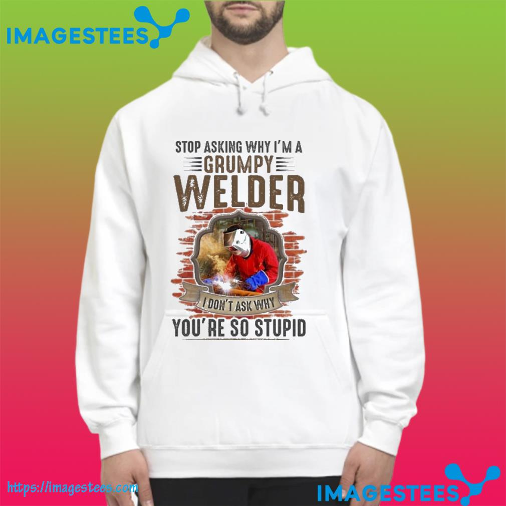 Stop asking why i;n a grumpy welder I don't ask why you're so stupid hoodie