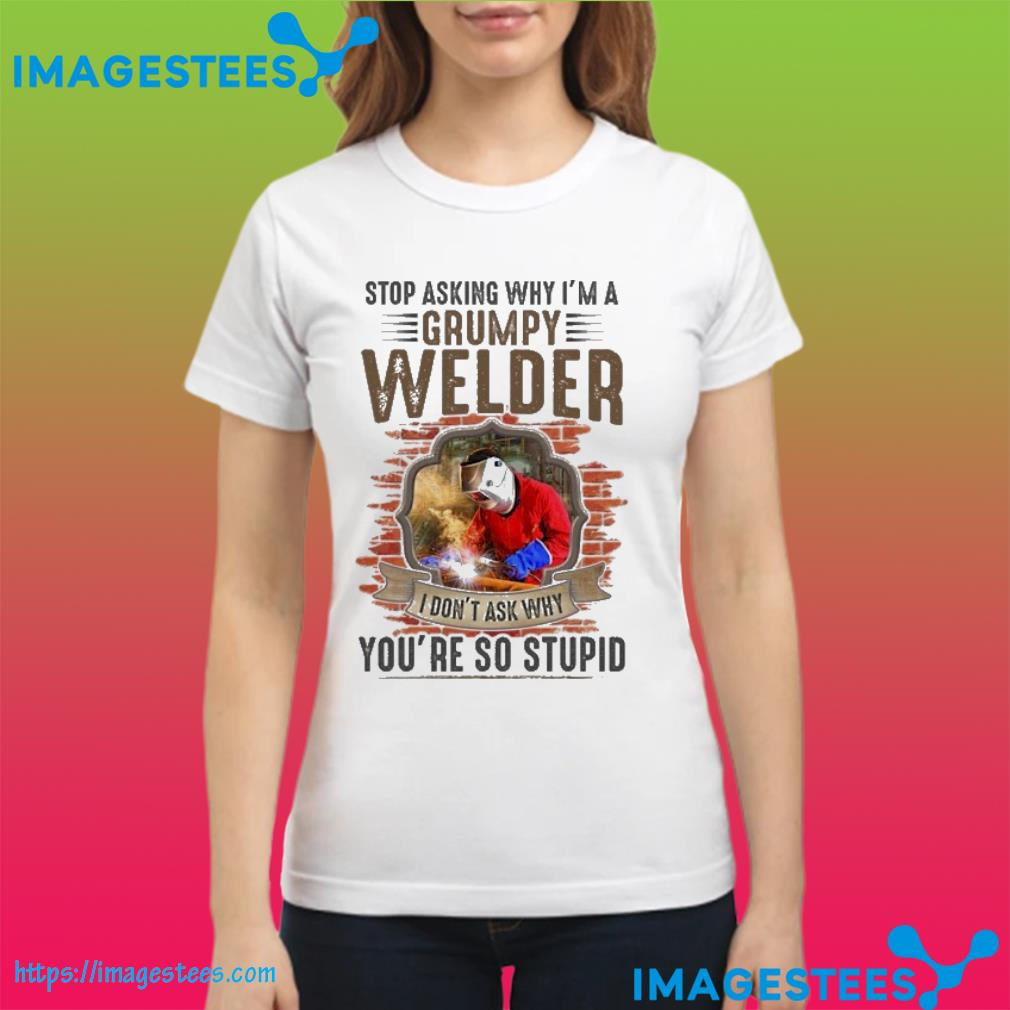 Stop asking why i;n a grumpy welder I don't ask why you're so stupid ladies tee
