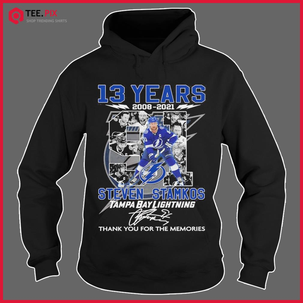 13 Years 2008 2021 The Steven Stamkos Tampa Bay Lightning Signature Thank You For The Memories Shirt Hoodie