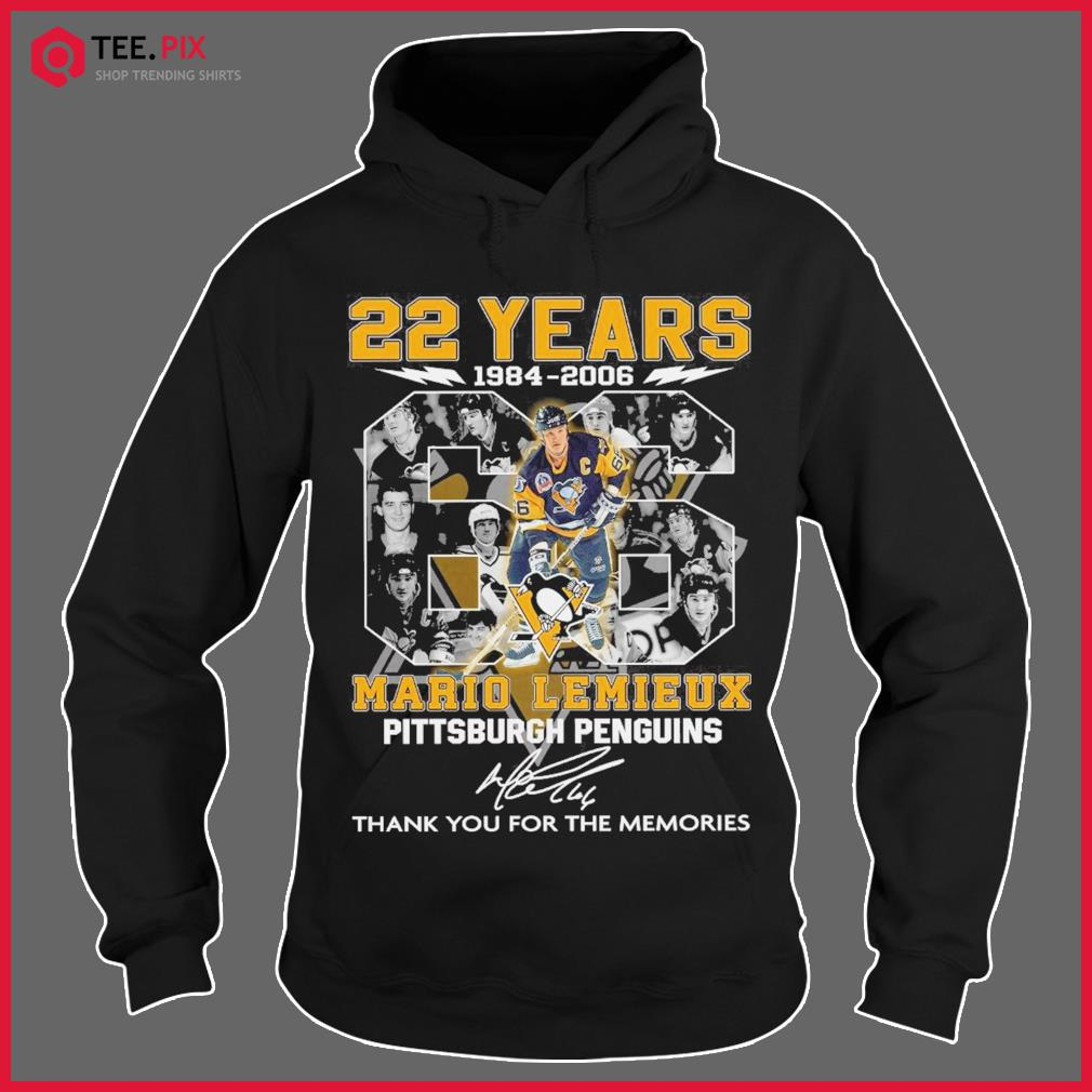 22 Years 1984 2006 The Mario Lemieux Pittsburgh Penguin Signature Thank You For The Memories Shirt Hoodie