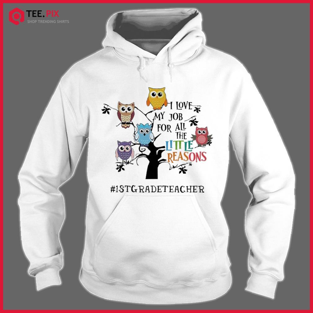 Owls I Love My Job For All The Little Reasons 1st Grade Teacher Shirt Hoodie