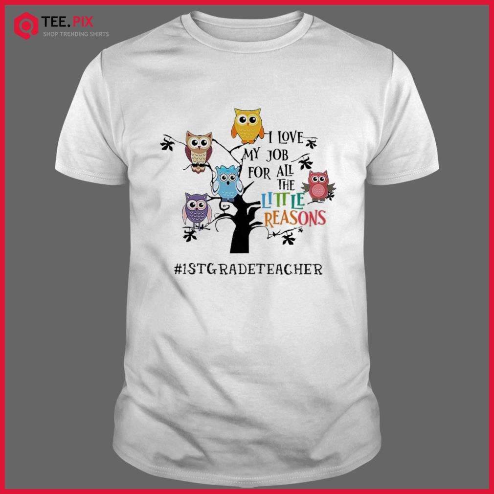 Owls I Love My Job For All The Little Reasons 1st Grade Teacher Shirt